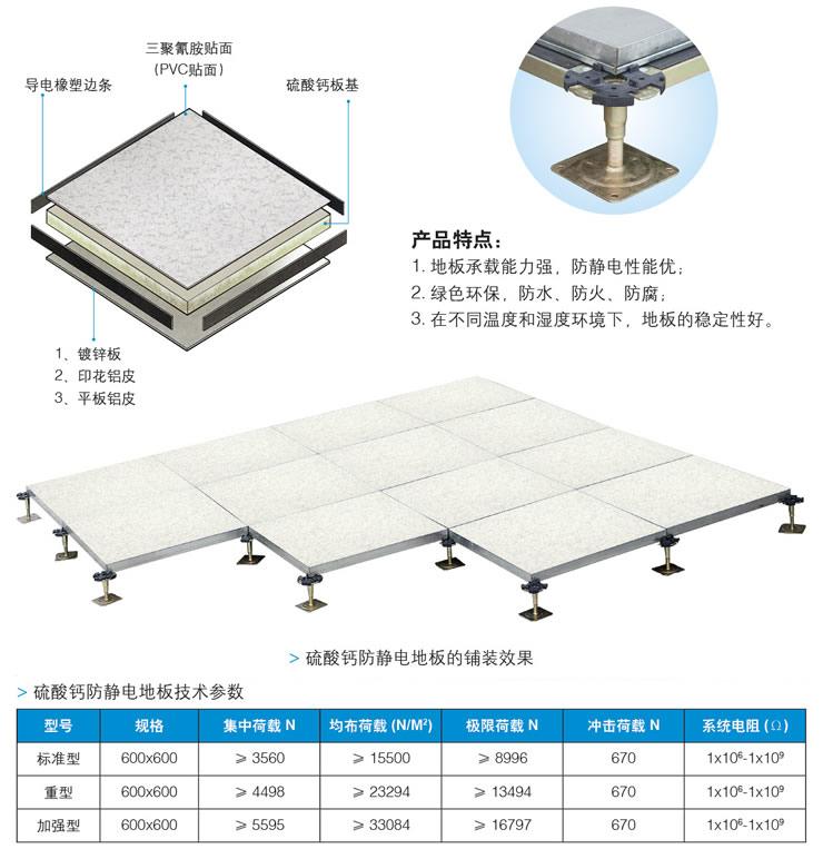 硫酸钙防静电地板结构参数图