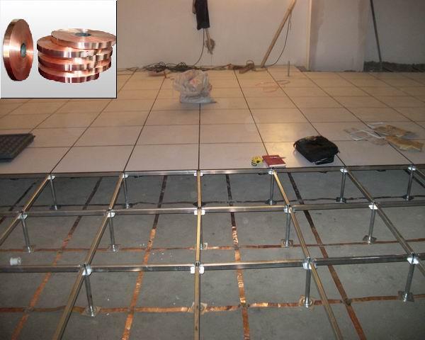 防静电地板铜带铺设